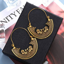 Hesiod Vintage Ethnic Indian Earrings For Women Boho Jewelry Ladies Retro Geometric Hollow Dangle Wholesale