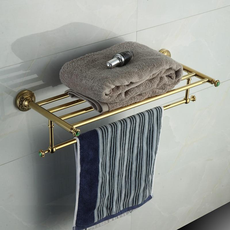 ФОТО Golden stone Towel Racks Luxury Bathroom Accesserries High Quality Golden Finish Bath Towel Shelves Towel Bar bath hardware