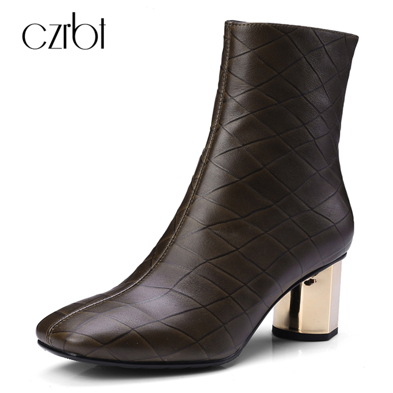 CZRBT Genuine Cow Leather Boots Women Fashion Checkered High Heel Boots Square Toe Square Heel Zipper Ankle Boots Coffee Black czrbt patchwork ankle boots women spring autumn cow suede leather pointed toe black high heel boots thick heel chelsea boots