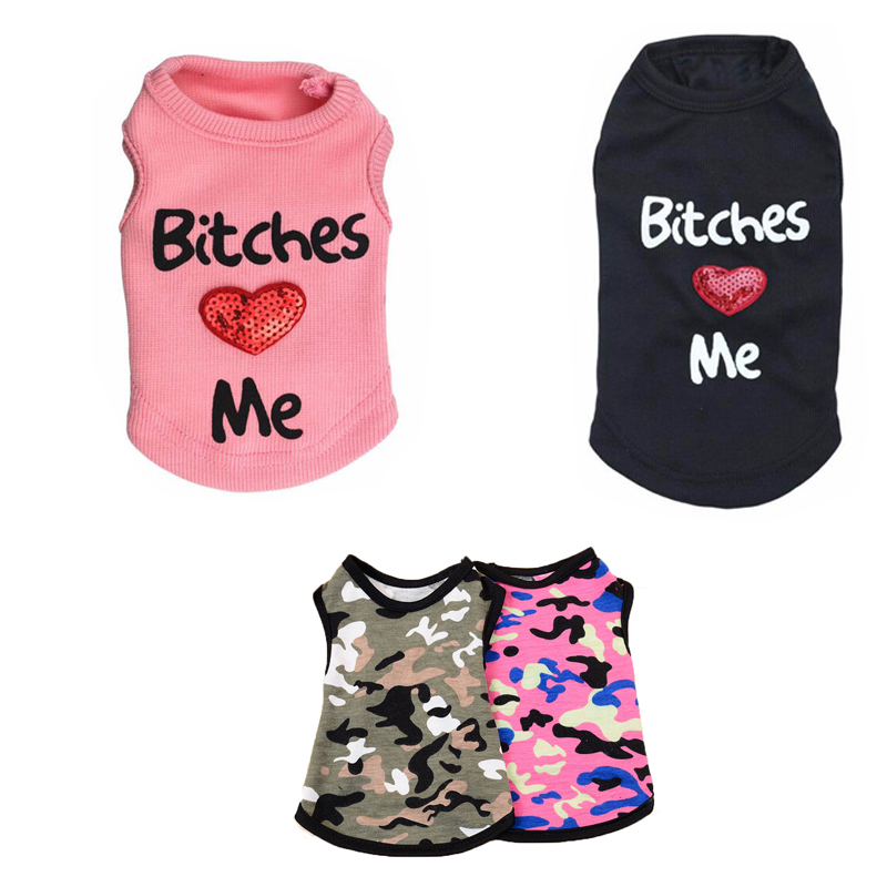 Dog Shirt Summer Pet Clothes Casual Vest Clothing For Small Dogs Letter Print BITCHES LOVE ME Puppy Jacket Camouflage Costume