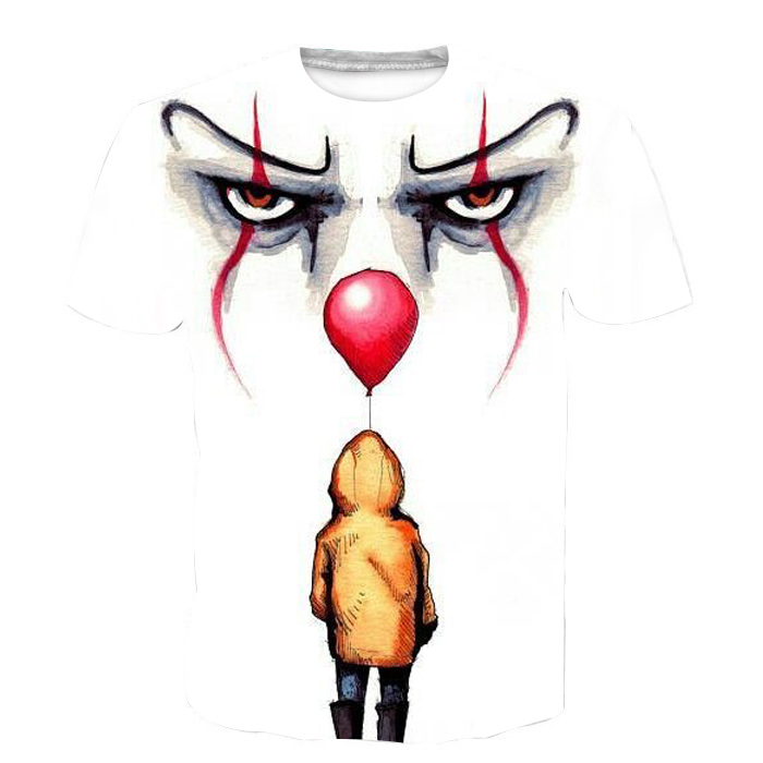 NEW Stephen King It Movie 3D Printed T-Shirt 2018 Pennywise Horror Clown T Shirt