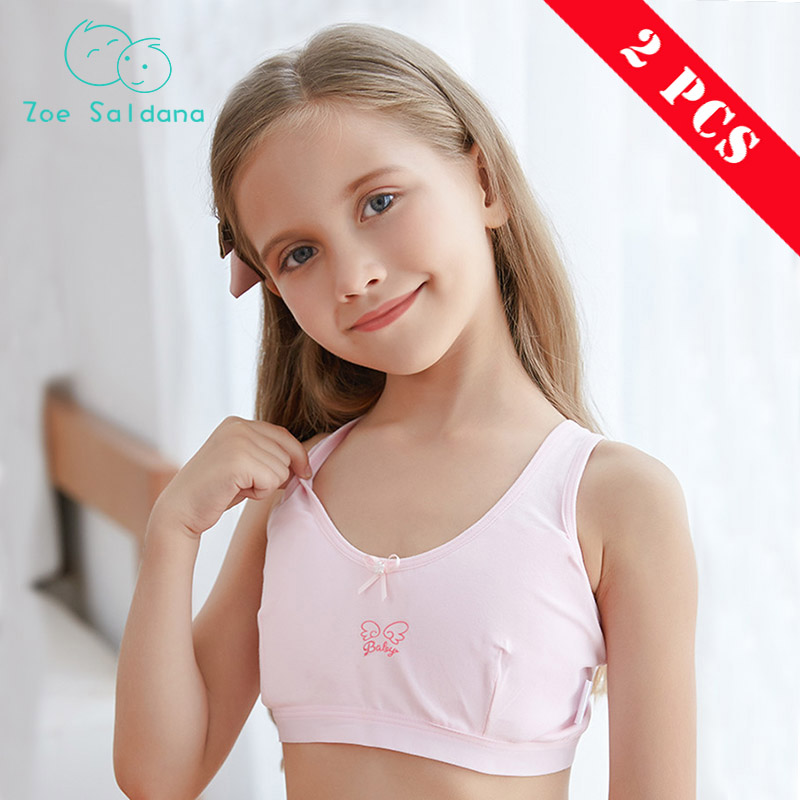 Young Girls First Training Bra Pink White Cotton Solid One Piece Breathable Girl Underwear Teen -5163