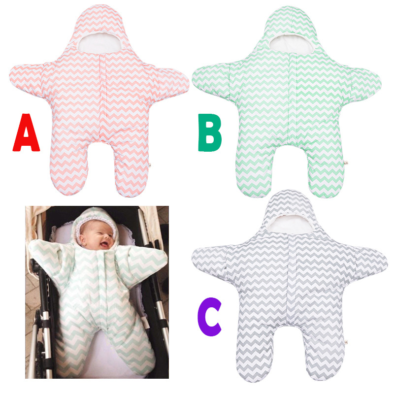 INS Newborn Anti-Kick Cotton Quit Infant Baby Flower Printed Sleeping Bag Thicker Starfish Bags For babies Neonatal Hold Blanket starfish printed waterproof shower curtain