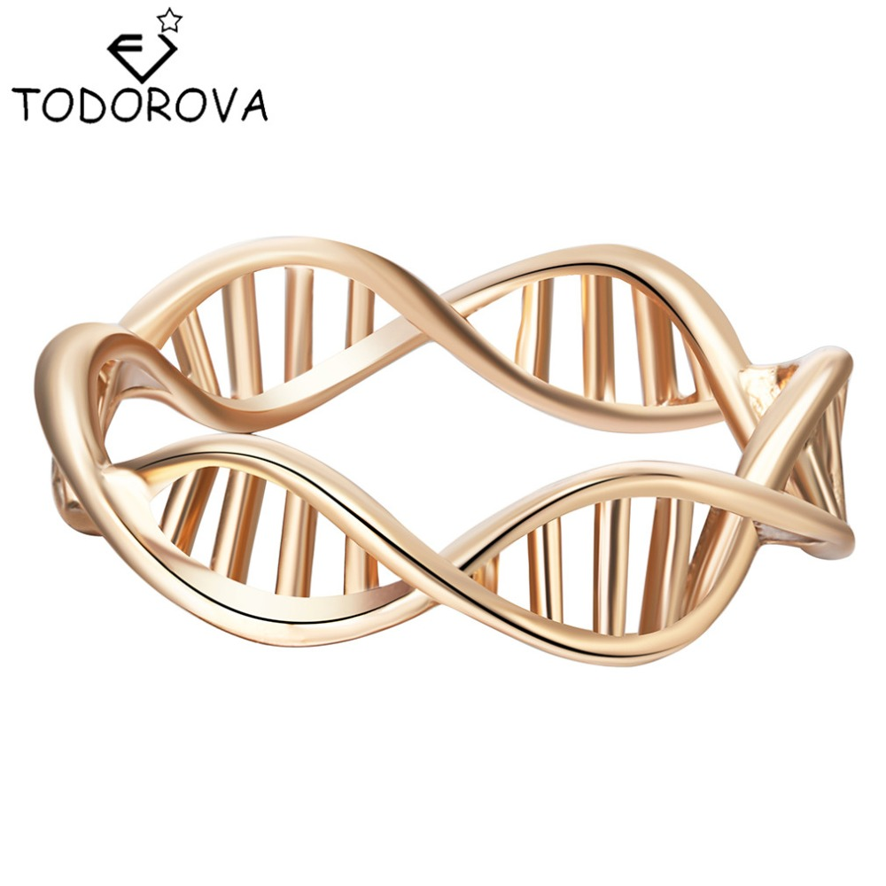 Todorova Gold Silver Infinity DNA Chemistry Ring Brand Jewelry Encircle Ring for Women Men Wedding Band
