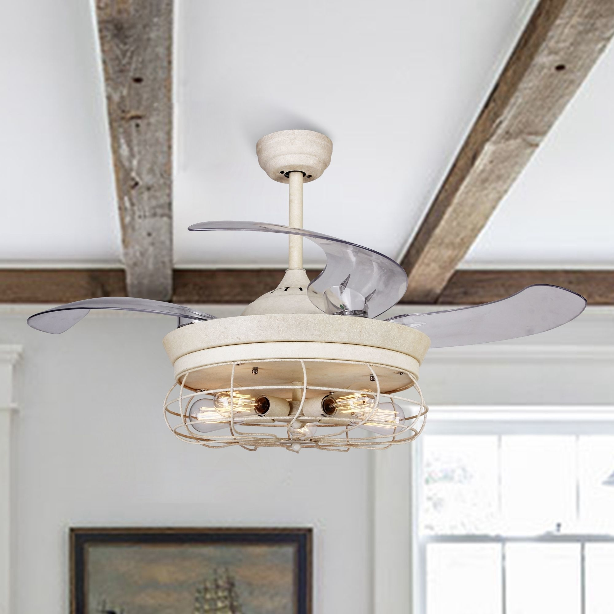 Rustic Ceiling Fan Light Fixtures Us 249 46 Rustic Ceiling Fan With Retractable Blades Light And Remote Antique White In Ceiling Fans From Lights Lighting On Aliexpress