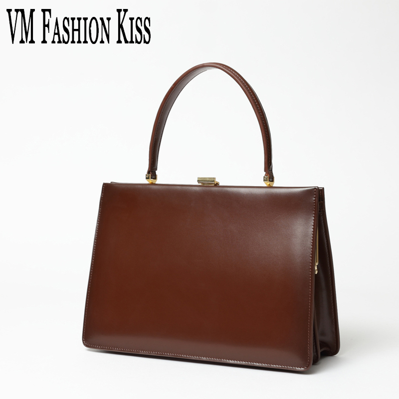 VM FASHION KISS 2017 New Autumn And Winter Genuine Leather Frame Handle Bags Luxury Handbag Women Designer Famous Brand Pochette autumn and winter new ladies genuine