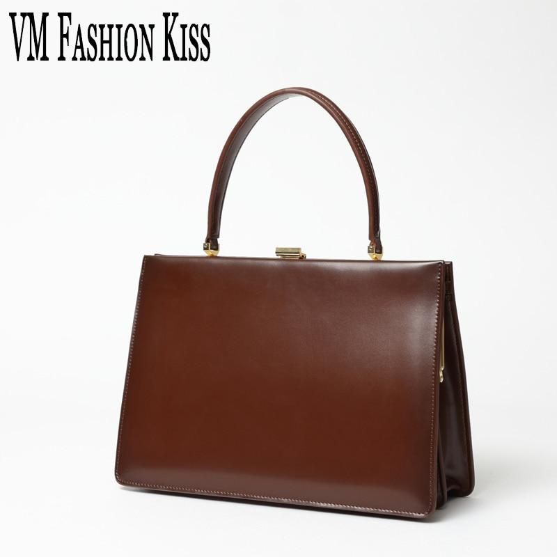 VM FASHION KISS 2017 New Autumn And Winter Genuine Leather Frame Handle Bags Luxury Handbags Women Bags Designer Women Pochette