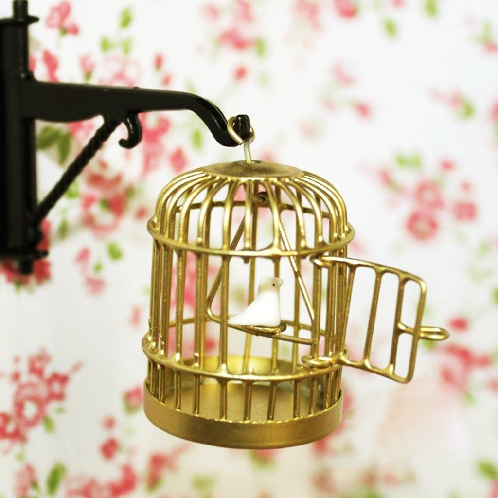 1 12 metal birdcage dollhouse miniature golden