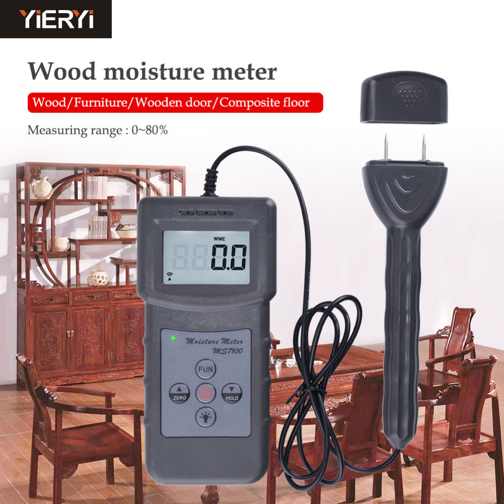 MS7100C Wood Moisture Meter Portable Digital LCD Display Needle Moisture Analyzer Humidity Meter Humidity Meter benetech gm610 1 75 lcd moisture meter black orange