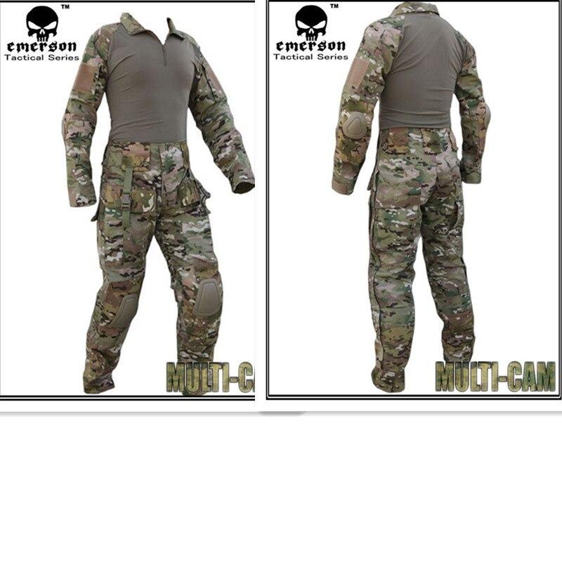 Армейском равномерное Эмерсон BDU Тактический рубашку и Штаны с наколенники и локтя площадку MultiCam em2711