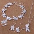 WT140 Lindo Encantador Estilo de Insectos Libélula Joyería Fija el Collar Pendientes Pulsera Anillo de Moda 925 joyas de plata Joyas de Cristal