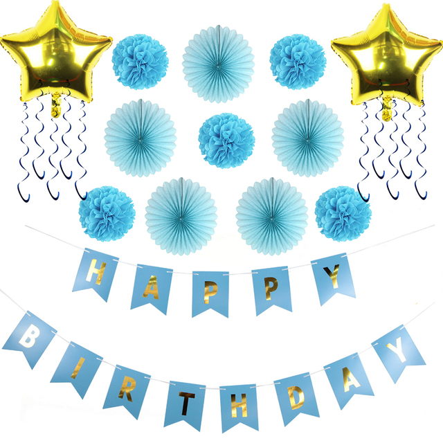 Blue Theme Decoration For Birthday Party Ideas for Boys Pompoms ...