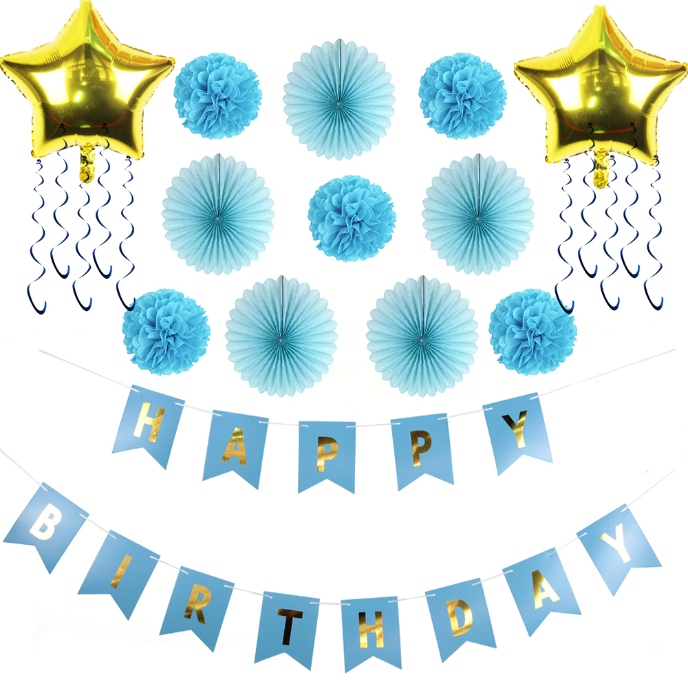 Sunbeauty 14pcs set blue theme decoration for birthday party ideas for boys pompoms paper fan - Paper decoration for birthday ...
