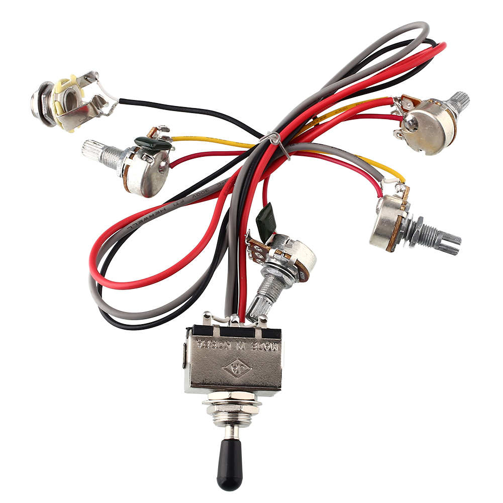 small resolution of yuker wiring harness 2v 2t 3 way toggle switch 500k pots for guitar dual humbucker replacement
