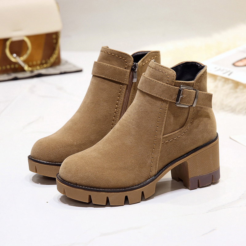 E TOY WORD Women Ankle Boots 2019 Autumn Woman Thick Heel shoes Zip Round Toe Platform female Boots plush Winter women booties in Ankle Boots from Shoes