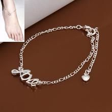 silver plated tornozeleira sexy fantasias femininas foot bracelets for women Love Letter boot jewelry chains slave anklet