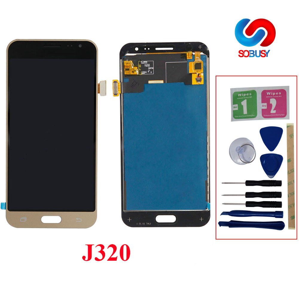 Sobusy telefone lcds para samsung galaxy j3 2016 j320 j320f SM-J320F display lcd tela de toque digitador assembléia tela substituir peças