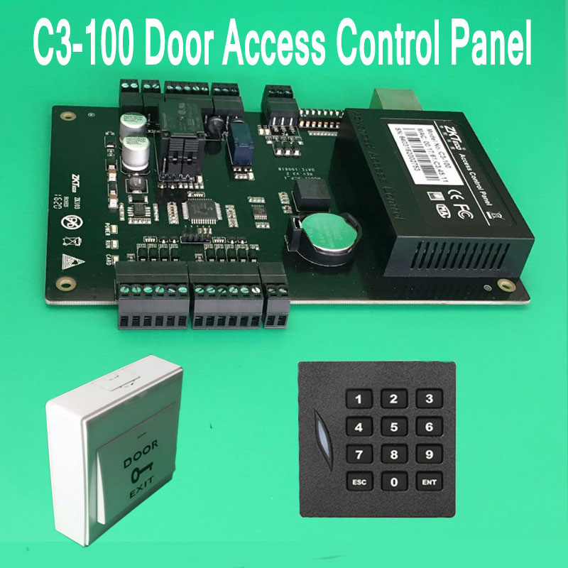 C3-100 TCP/IP One Door Access Control Panel with Exit Button+ KR102E card reader 125khz ID/EM Card Controller linux system one door c3 100 access control panel with wiegand interface kr102 rfid card reader no touch infrared exit button