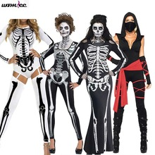 Funny Halloween Costumes Horror Cos bloody Skull Zombie Costume Vampire Ghost Bride for Women Halloween Party Cosplay devil