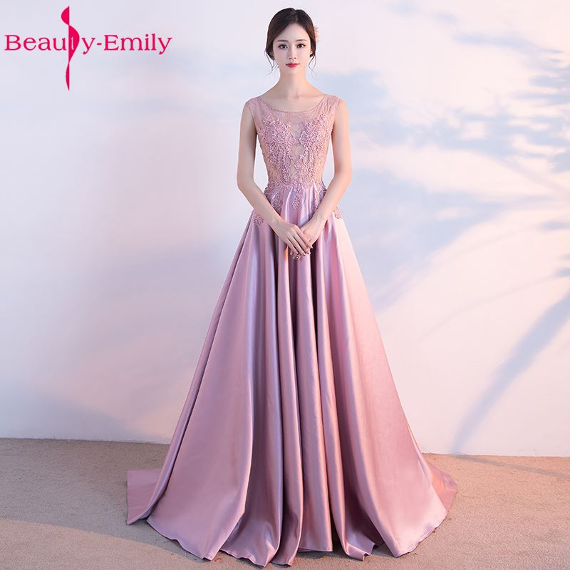 Beauty-Emily Robe De Soiree O-Neck Off the shoulder Long Pink   Bridesmaid     Dresses   2017 Formal   Dresses   Custom Made Plus Size
