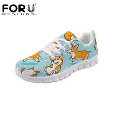 FORUDESIGNS Cartoon Corgi Sneakers 2018 Woman Casual Shoes Flat Ladies Vulcanized Lovers Comfortable zapatos mujer