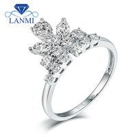 רויאל מוצק 14 K זהב לבן תכשיטים עיצוב המרקיזה Cut באיכות טובה יהלומי טבעת נישואים לנשים לאהוב מתנות