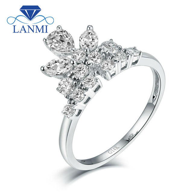 Royal Design Fine Jewelry Solid 14K White Gold Marquise Cut Good Quality Diamond  Wedding Ring For