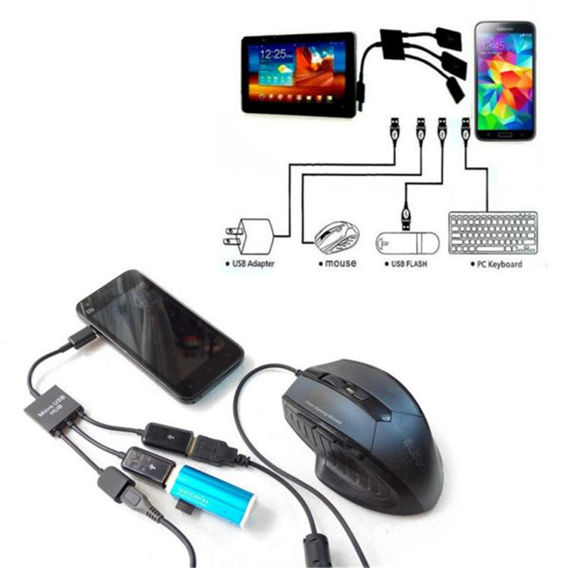 Power Charging keyboard mouse card reader 3Port Micro USB OTG Hub Host Cable For Samsung for Sony