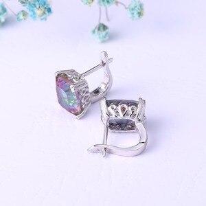 Image 4 - GEMS BALLET pendientes de aro de cuarzo místico arcoíris Natural para mujer, conjunto de joyería de boda de Plata de Ley 925, joyería fina