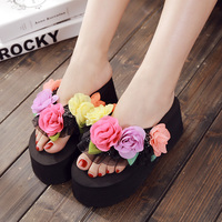 Flower Patch 7 Cm High Heel Casual Slippers