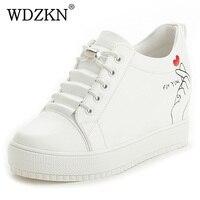 WDZKN 2018 New Women Sneakers Lace Up Height Increasing Women Casual Shoes Wedge Heel Graffiti Platform