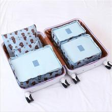 SALE Cartoon 6PCS/Set Travel Bag Sets Waterproof Packing Cube Clothing Sorting System Durable Organizer Luggage Large Capacity все цены