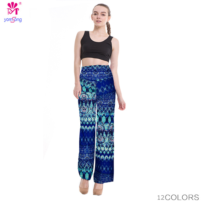 de0b93de943b 2018 High Waist Loose Pants Palazzo Wide Leg Pants Floral Printing Tribal Pattern  Plus Size Pants Palazzo Pants Plus Size 238