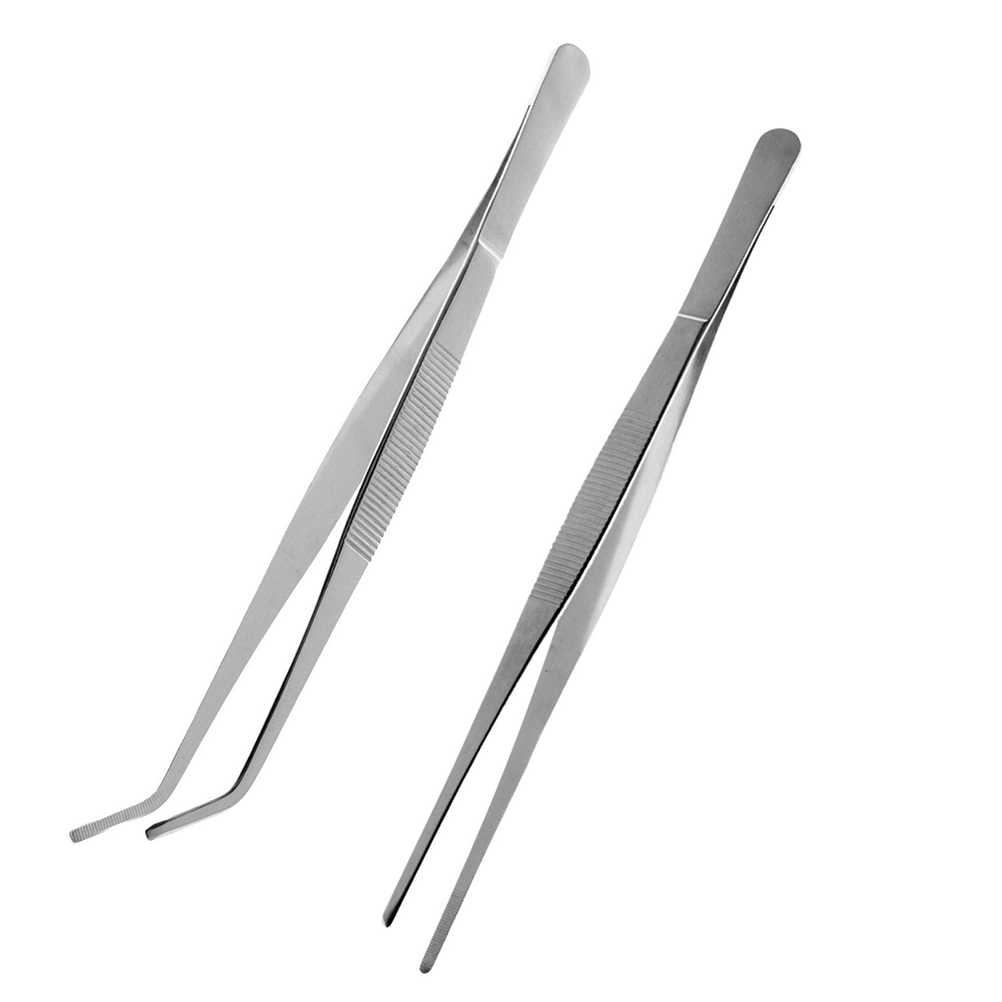 2pcs Stainless Steel Straight and Curved Nippers Tweezers Feeding Tongs for Reptile Snakes Lizards Spider (Silver)