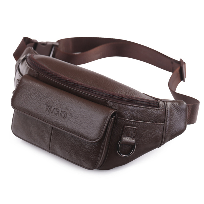 New Real Cowhide Hip Fanny Belt Pack Pouch Single Shoulder Cross Body Bag High Quality Men Genuine Leather Waist Chest Bags