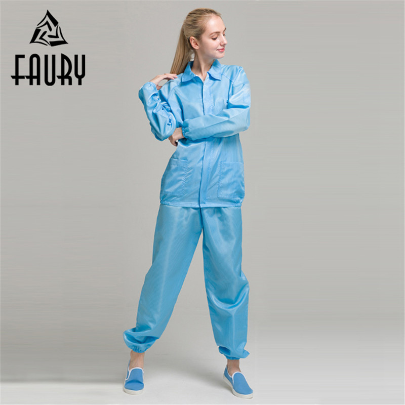 Worker Painting Overalls Anti-static Dustproof Protective Suit Collar Uniforms Dust-free ...