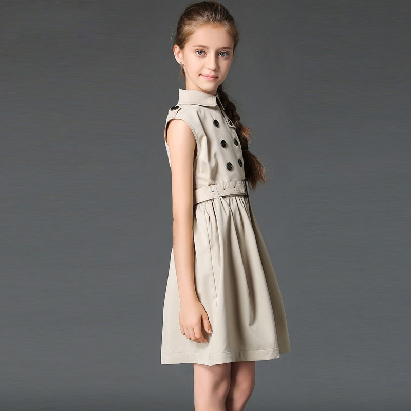 ФОТО Teenage Girls Dresses Summer 2016 Girls British Fall  Princess Dress Child Kids Party Wedding Clothing Double-breasted Vestido