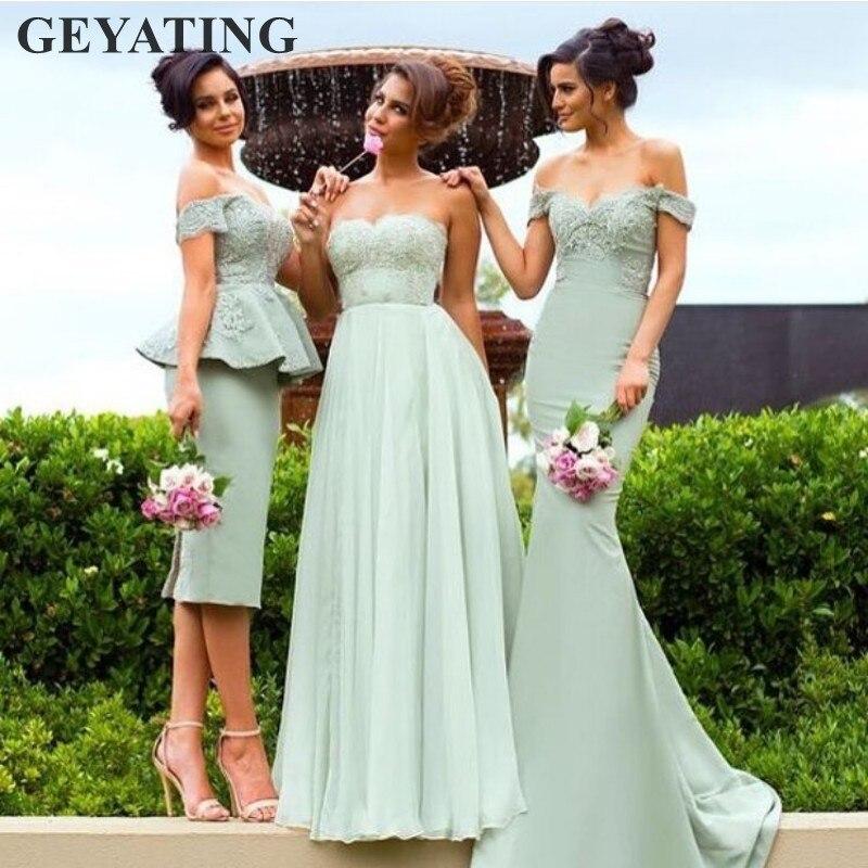 Mixed Stil Mint Green Brautjungfer Kleider 2019 Elegante Off Schulter Sage Lange Hochzeit Party Kleid für Frauen Gast Formale Kleider