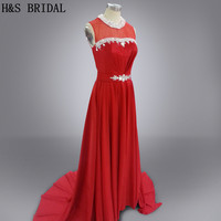 Real photo Vestidos Red sexy dài gown crystals evening dresses đảng