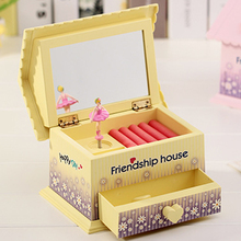 Lovely Cartoon House Shape Music Box Ballet Girls Jewelry Box Music Box