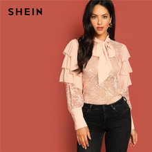 8b6455bc0aaddd SHEIN Pink Retro Tie Neck Layered Ruffle Lace Blouse Without Cami Froal  Sheer Top Women Long Sleeve 2019 Spring Elegant Blouses