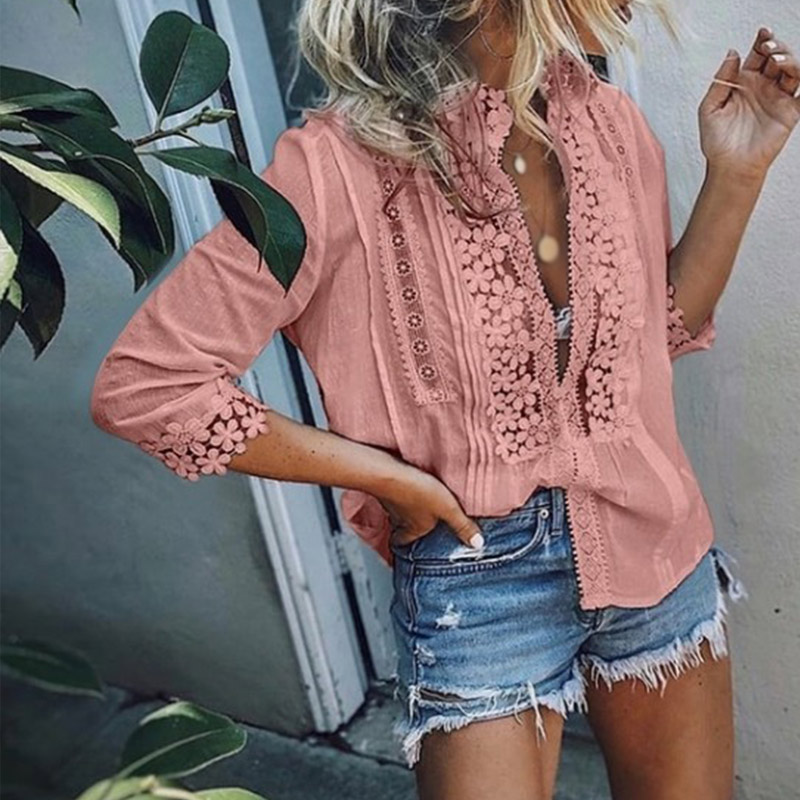 Women's Lace Ruffled Blouse Top Plus Size 5XL 3/4 Sleeve Patchwork Office Lady Womens Tops And Blouses 2019 Spring Summer Shirts