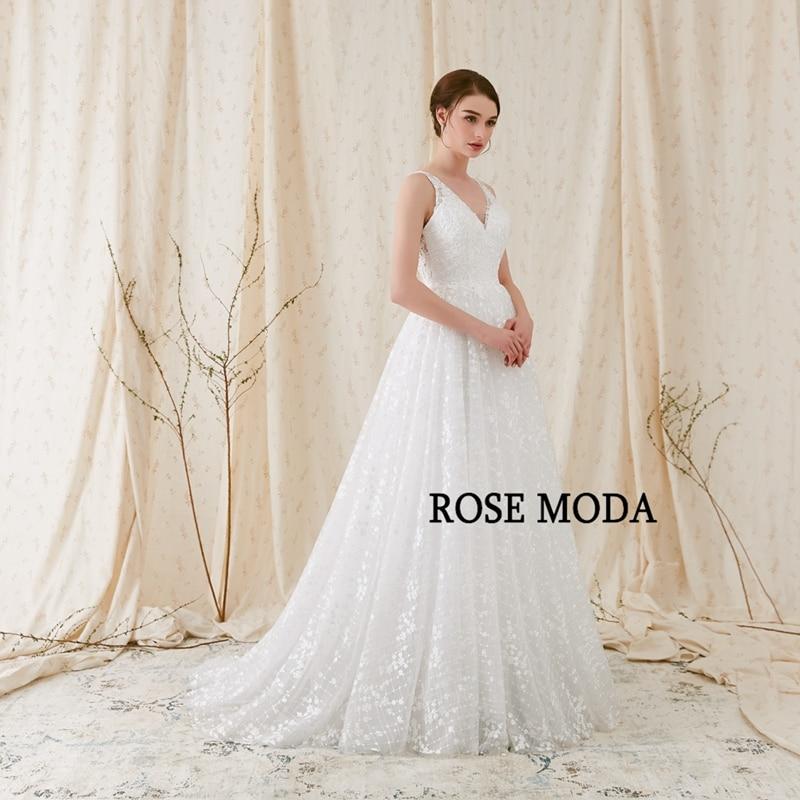 Rose Moda Delicate Chantilly kanten trouwjurk 2018 Backless kanten - Trouwjurken - Foto 2