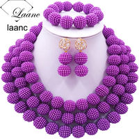 Laanc Simulated Pearl Purple Nigerian Wedding African Beads Jewelry Set for Women SP3R015