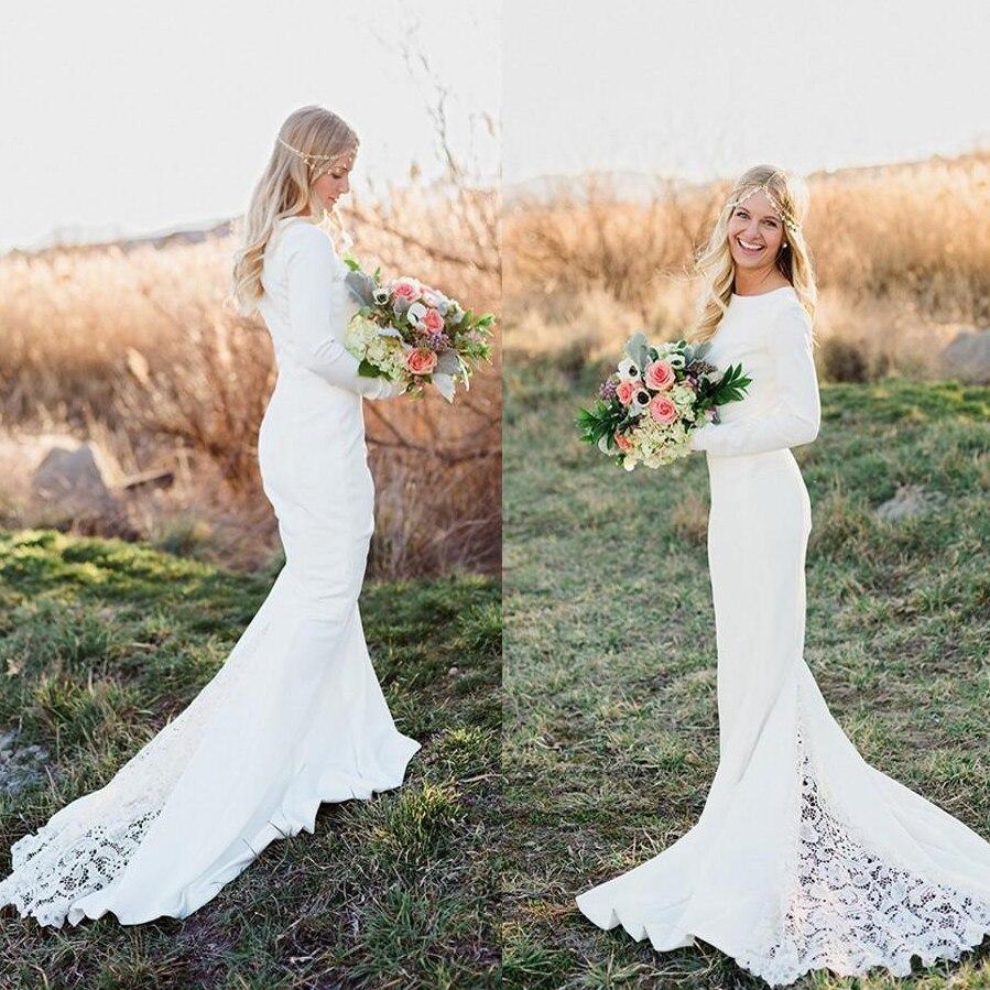 Vestido novia manga larga boho