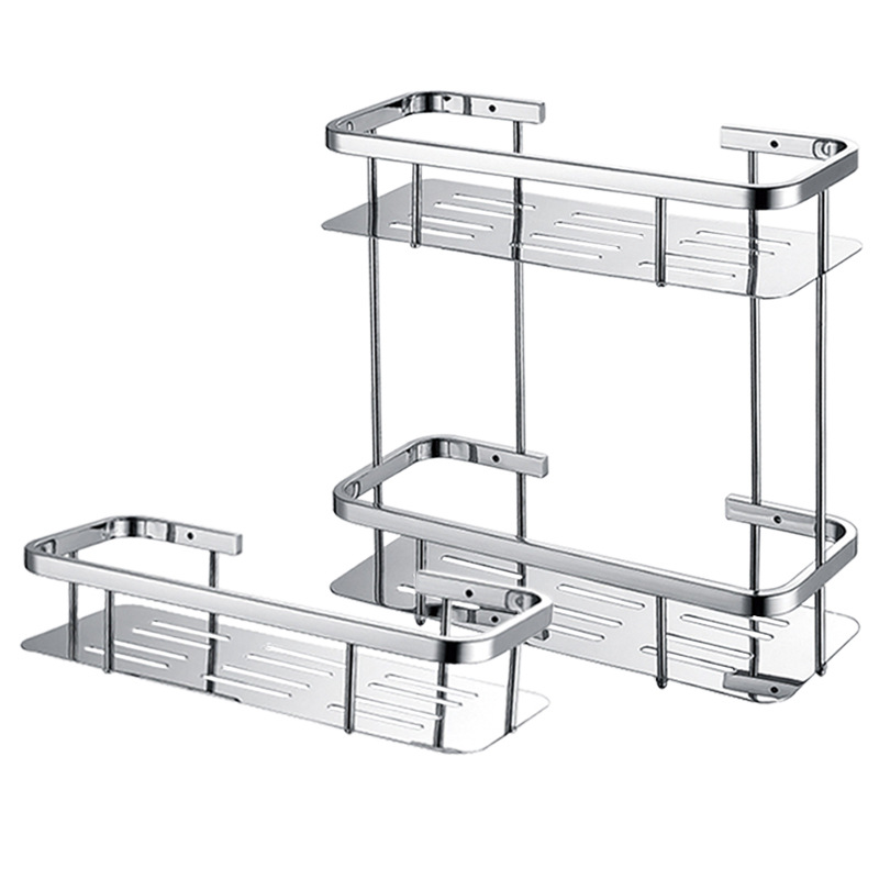 Deluxe 304 Stainless Steel Bathroom Shelves Single Double Square Shower Bright Basket Shelf Tidy Rack Caddy Storage Organizer