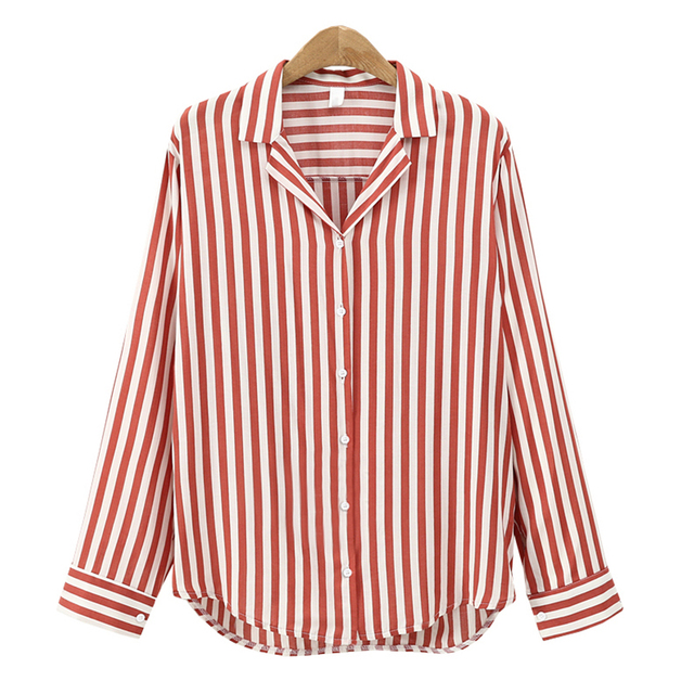 4af93ba89 New 2018 Fashion Striped Button Blouses Casual Women Tops and Blouses Long  Sleeve Turn Down Collar Shirt Vintage OL Tops Female