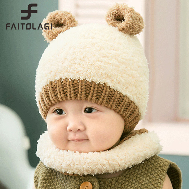 Faitolagi Winter Hat Girl Boy Baby Accessories Newborn Warm Knitted Baby  Beanies Cute Bear Ear Caps On Boy With Scarf 85aef0c9234