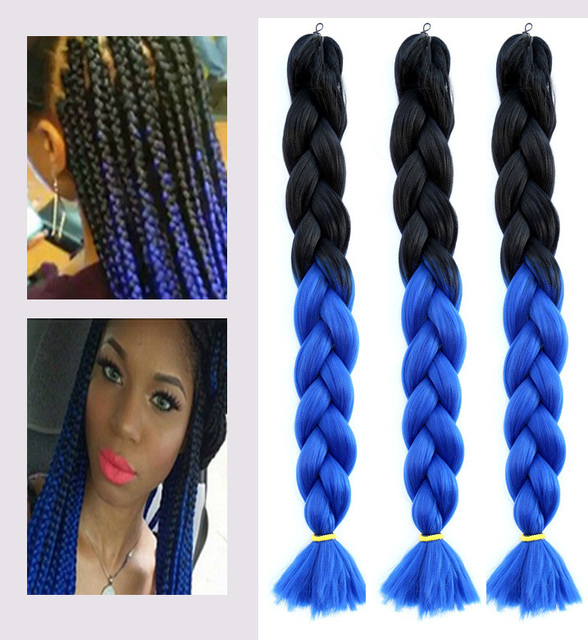 2pcs Black Blue Ombre Kanekalon Jumbo Braiding Hair 48inch 100g