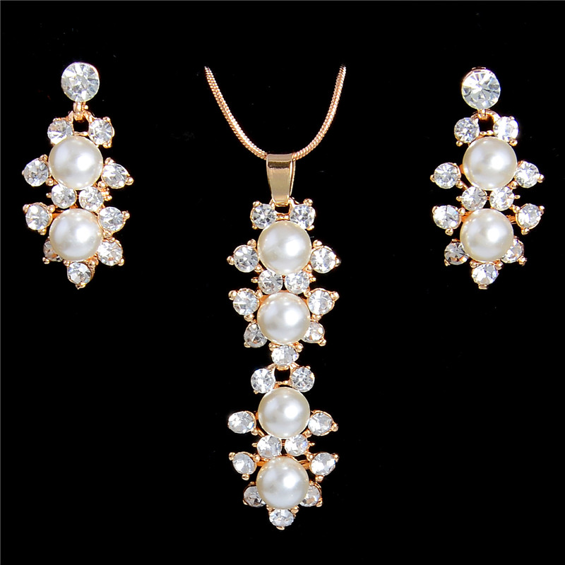 Us 1 8 15 Off Zoshi Simulated Pearl Jewelry Set Whole Gold Color Pendant Necklaces Drop Earrings For Women Fashion Wedding Sets In